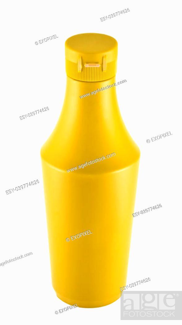 Stock Photo: Platic bottle of Mustard souce isolated over white background.