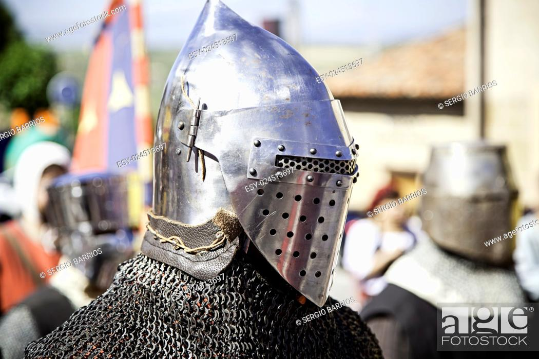 Stock Photo: Medieval hull of a Knight Templar, detail of a metal helmet. in Spain.