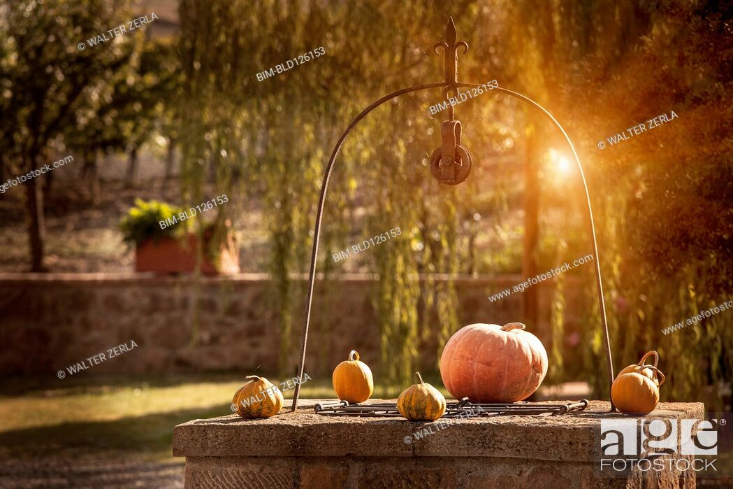 Stock Photo: Pumpkins on stone well.