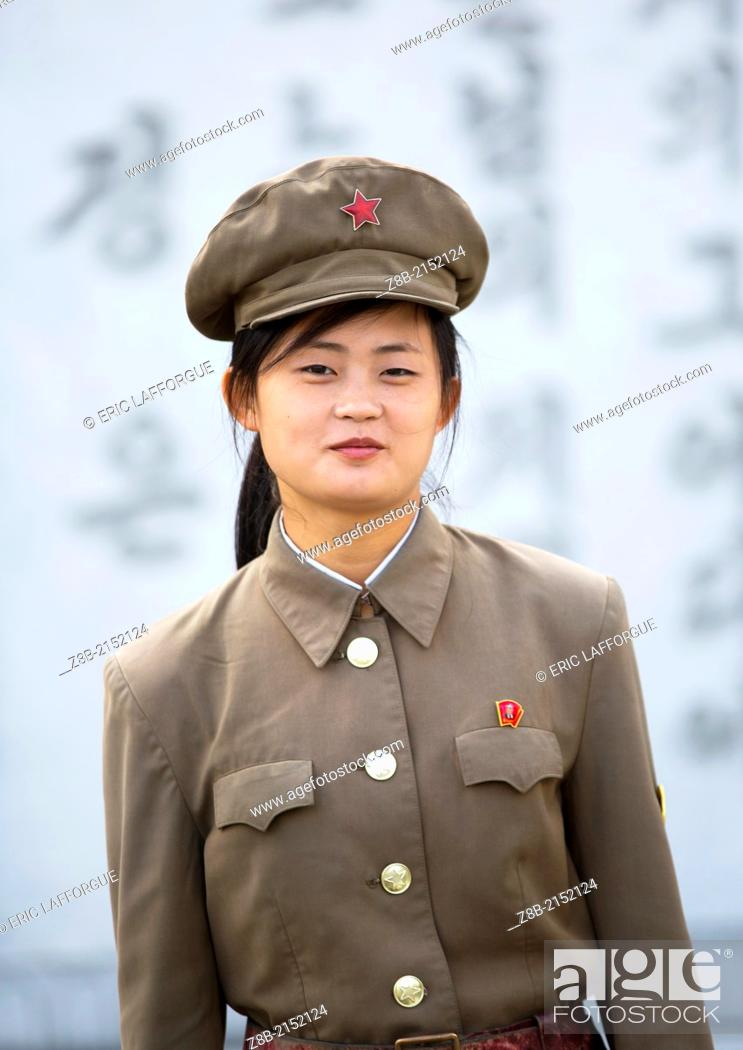 Stock Photo: Female Guard At Mansudae Art Studio, Pyongyang, North Korea.