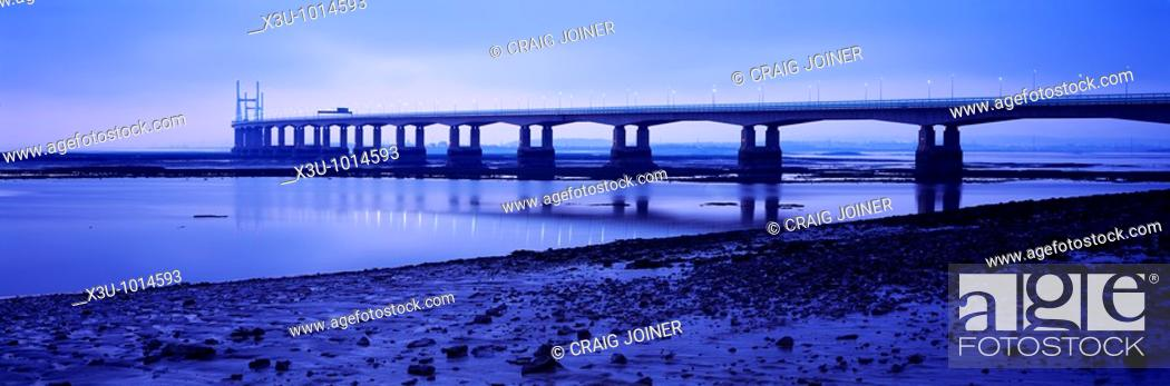 Stock Photo: The Second Severn Crossing over the River Severn between England and Wales seen from Severn Beach in Gloucestershire, United Kingdom.
