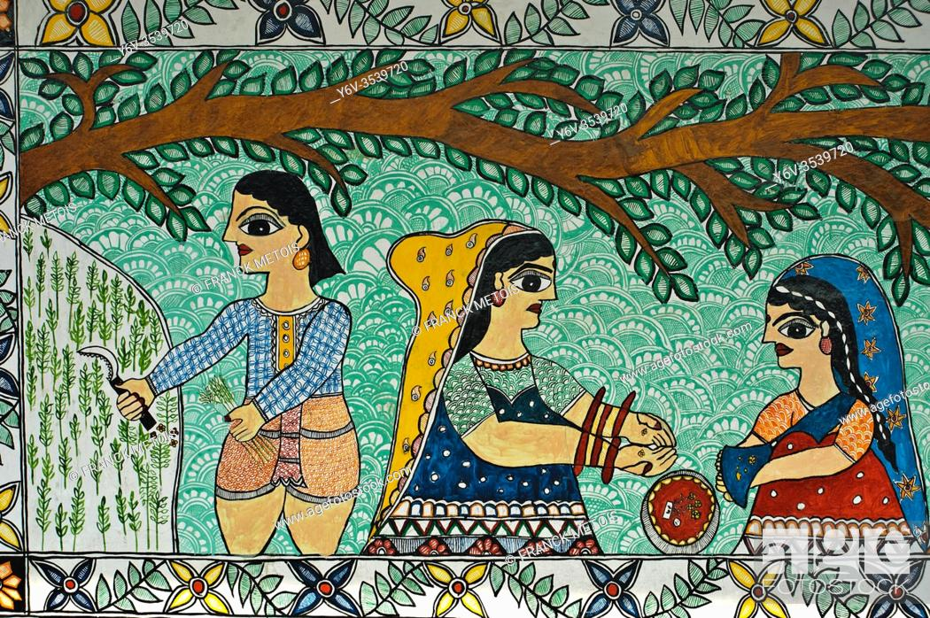Stock Photo: Mural painting the Madhubani painting ( Bihar, India). The Madhubani ( or Mithila) style of painting is an art form from northern India and southern Nepal.