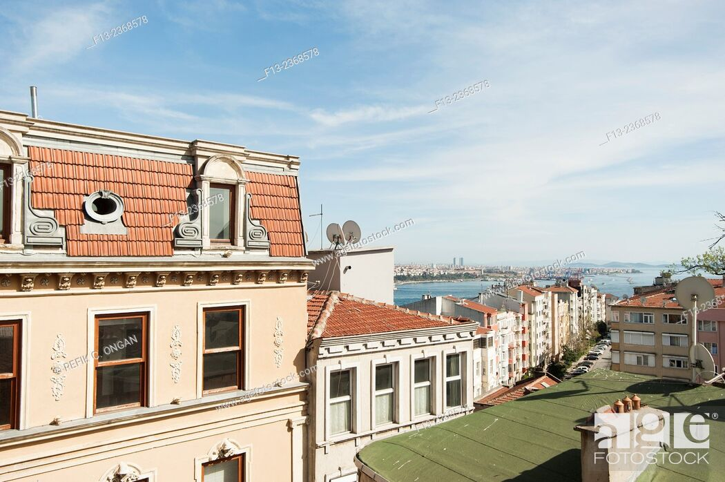 Stock Photo: Buildings in Istanbul and at the background islands and Asian side.