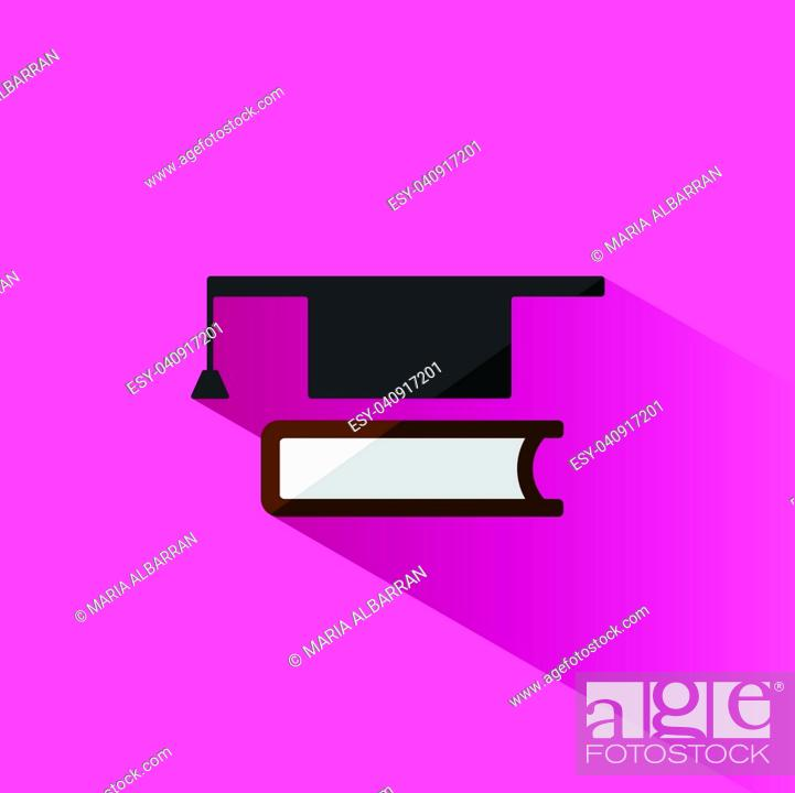 Stock Vector: Mortaboard with book icon on pink background.