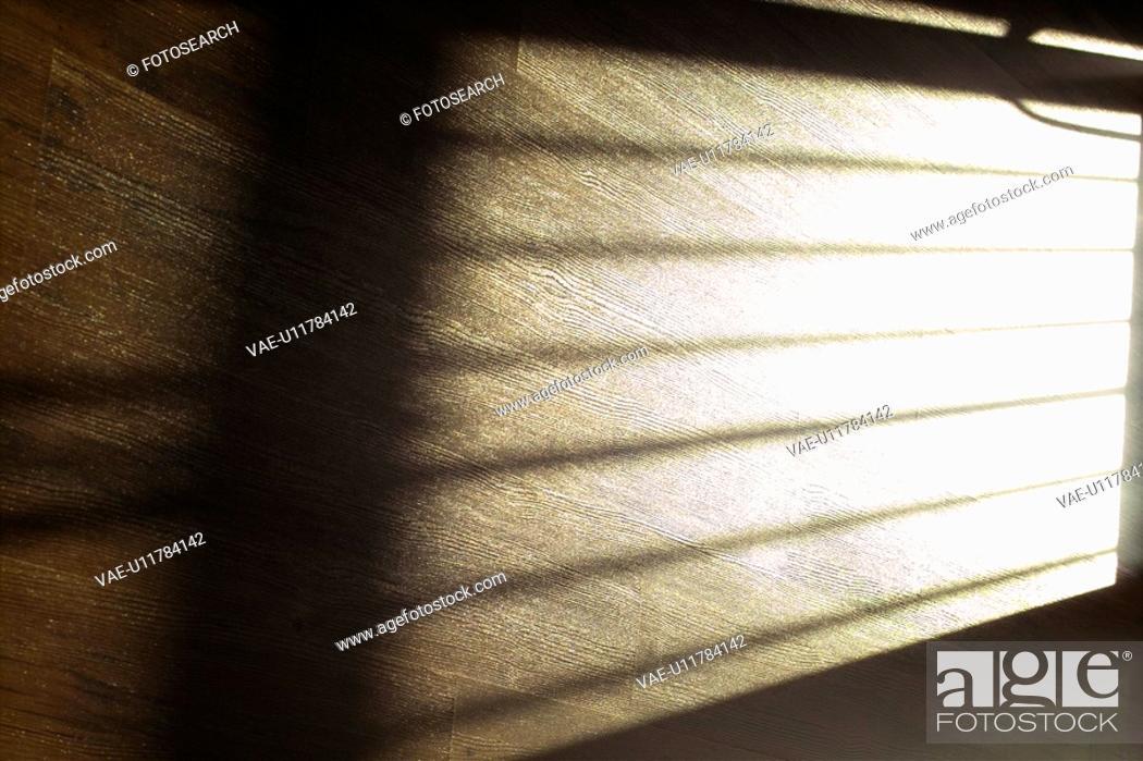 Stock Photo: deck, floor, shadow, wooden, wood, wooden deck, light.