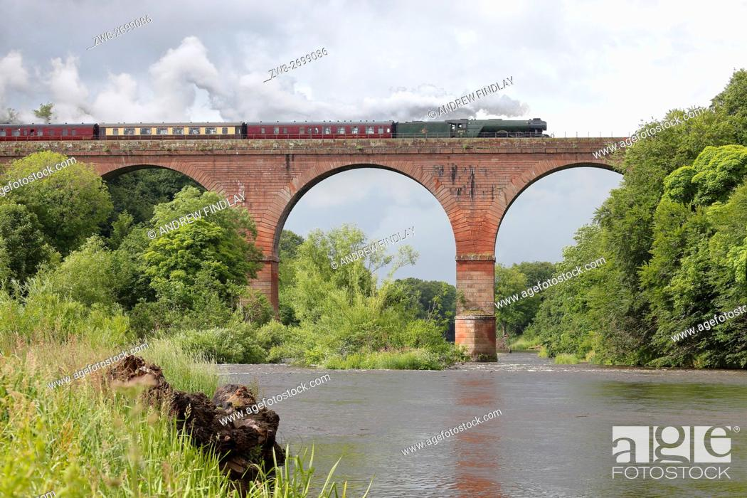 Stock Photo: Steam train LNER A3 Class 4-6-2 no 60103 Flying Scotsman. Wetheral Viaduct, Wetheral, Cumbria, England, United Kingdom, Europe.