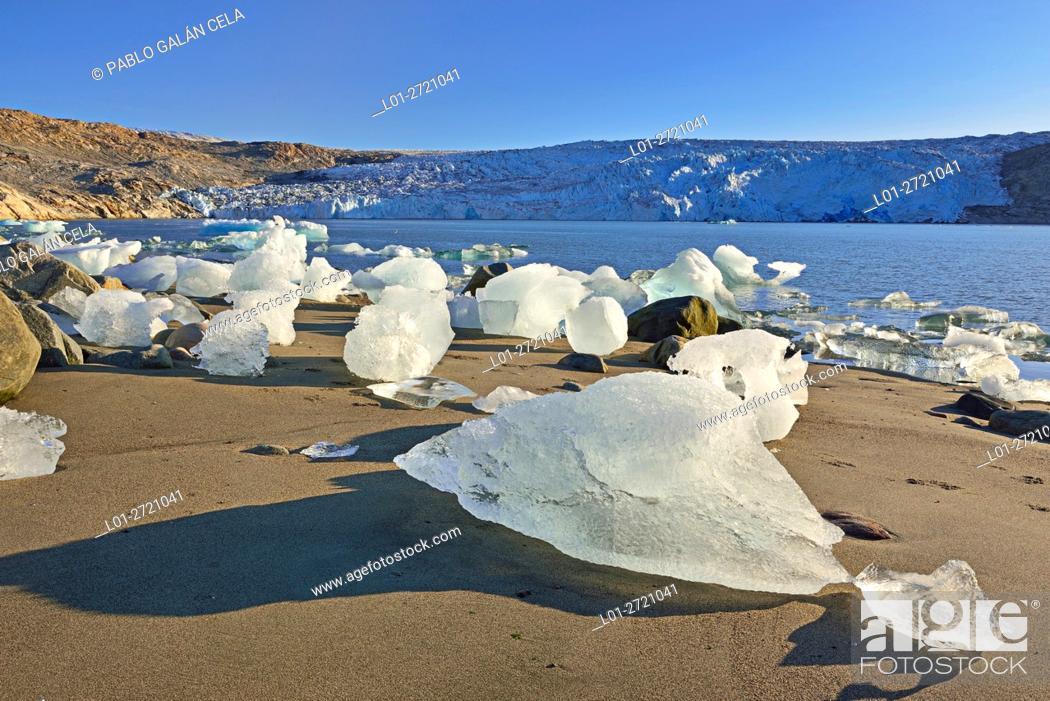 Stock Photo: Fragments of ice detached from Fletanes (Qaleragdlit) glacier (Greenland).