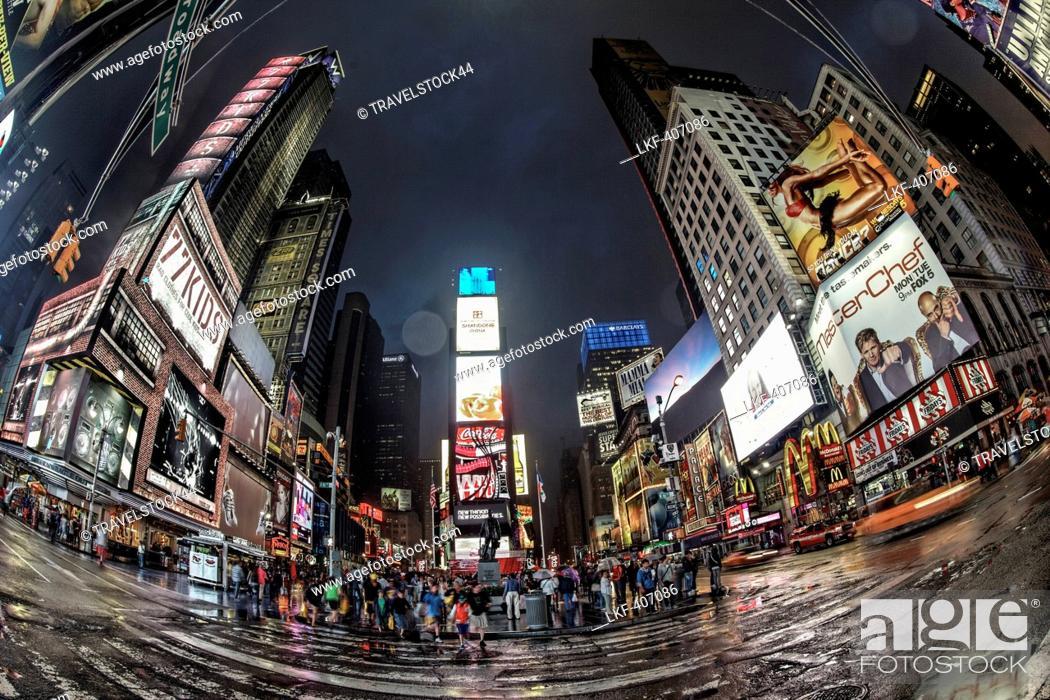 Stock Photo: Times Square at twilight on a rainy day, Broadway, Manhattan, New York City, New York, USA.