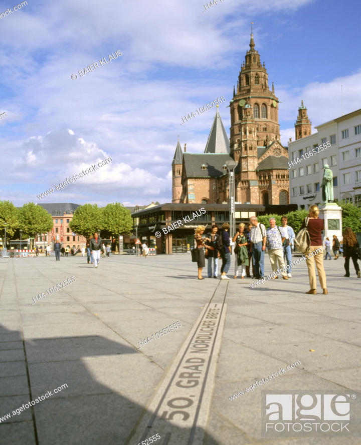 Stock Photo: 10652555, 50 northern degrees of latitude, Germany, Europe, cathedral, dome, cathedral church, Mainz, pedestrian, passerby, pl.
