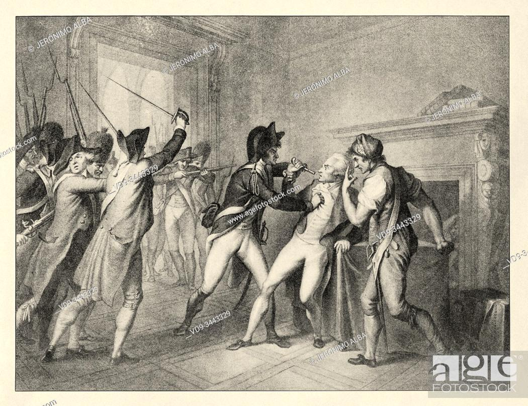 Stock Photo: Arrest of Robespierre on July 27, 1794. French Revolution 18th century. History of France, old engraved illustration image from the book Histoire contemporaine.