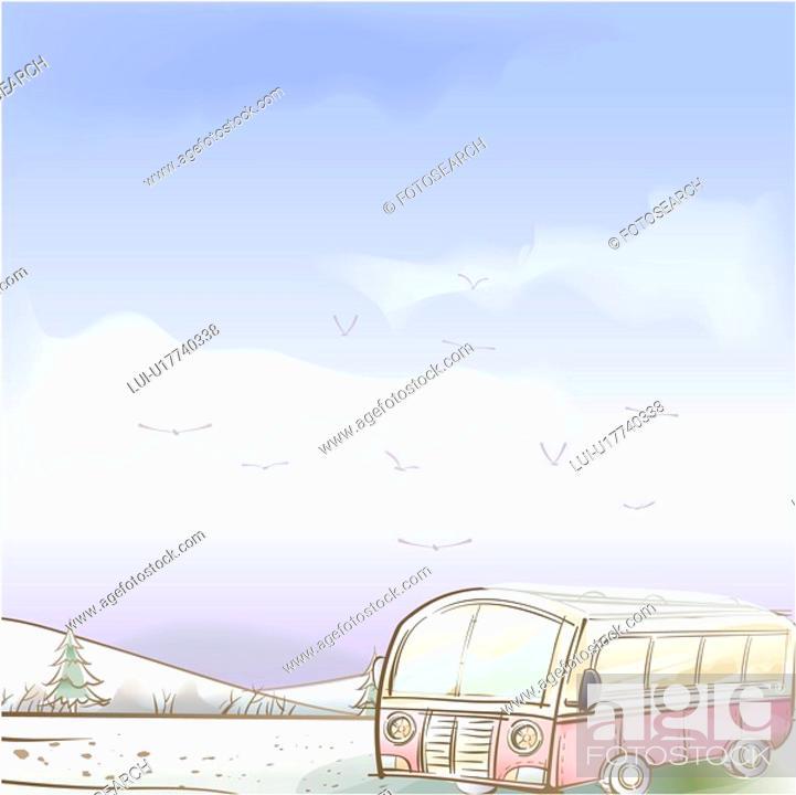 Stock Photo: tree, season, hill, snow, winter, bus, background.