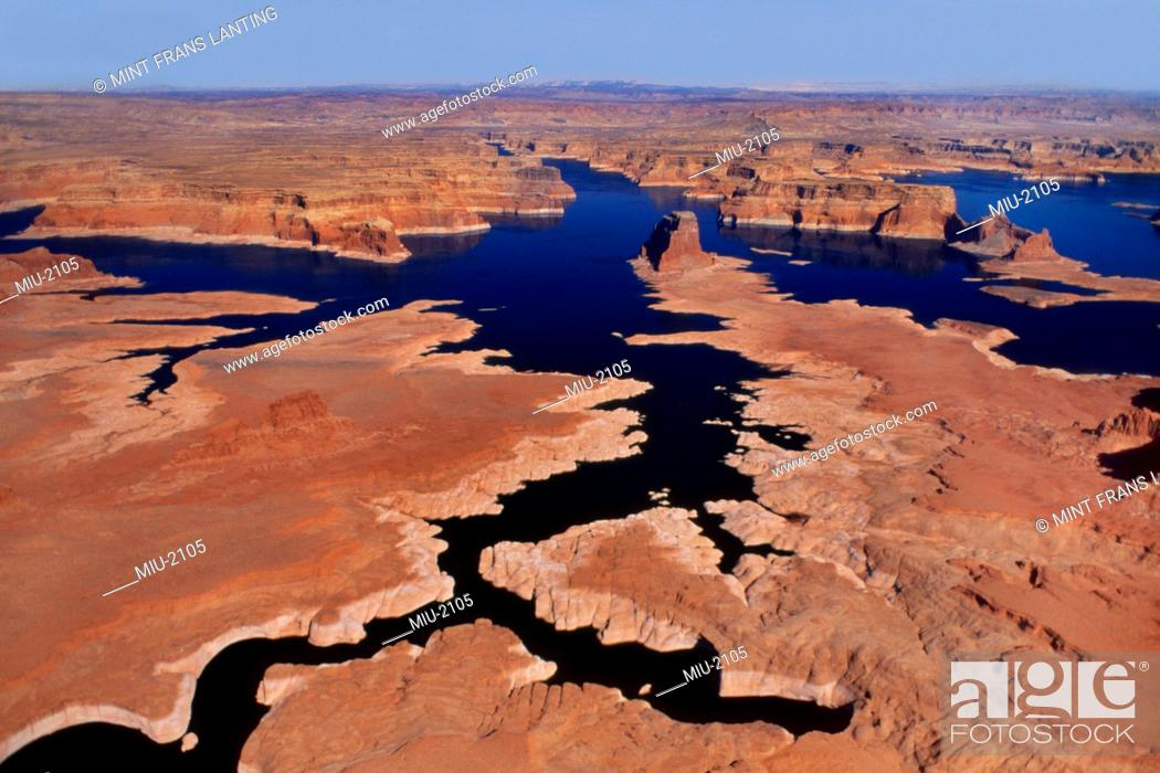 Stock Photo: Low water levels viewed from the air, Lake Powell, Glen Canyon National Recreation Area, Utah.