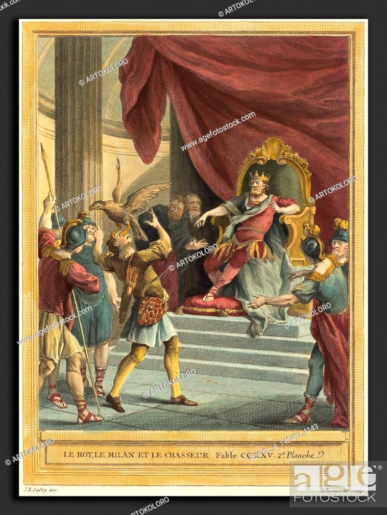 Stock Photo: Louis-Simon Lempereur after Jean-Baptiste Oudry (French, 1728 - 1807), Le roi, le milan, et le chasseur (The King, the Kite, and the Hunter), published 1759.
