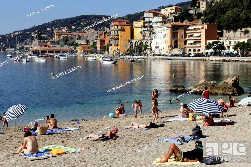 Stock Photo The Beach Of Villefranche Sur Mer On Côte D