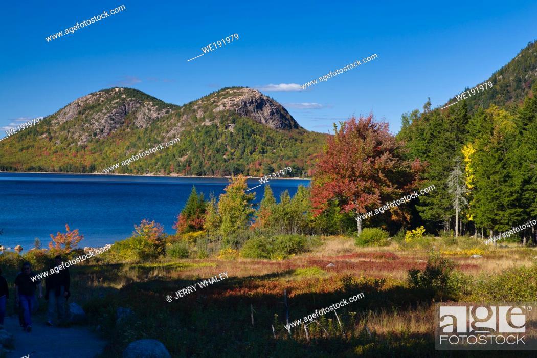 Stock Photo: Jordan Pond in Acadia National Park on Mount Desert Island, Maine.