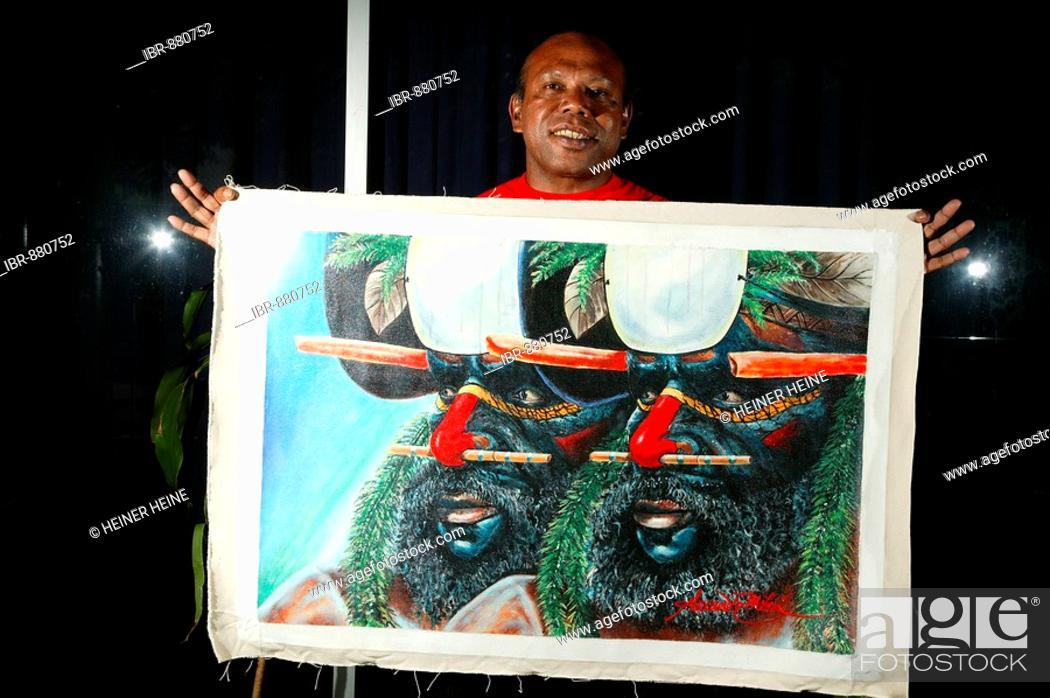 Stock Photo: Painting of the artist Alexander Mebu, Port Moresby, Papua New Guinea, Melanesia.