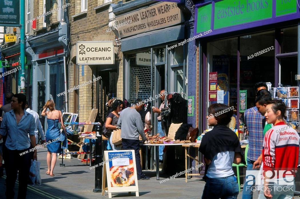 Stock Photo: England - London - Whitechapel district - Brick Lane Sreet.
