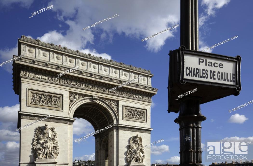 Imagen: Arc De Triomphe in Place Charles de Gaulle, Paris, France.