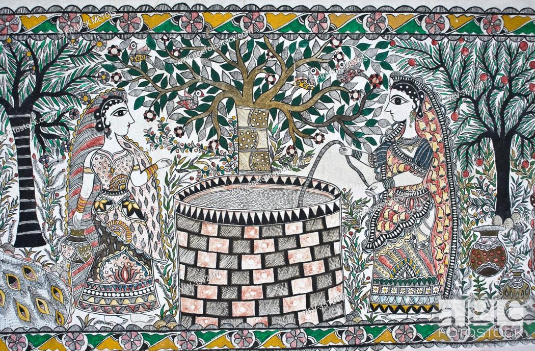 Stock Photo: Mural painting Madhubani style ( Madhubani, India). The Madhubani ( or Mithila) art is a traditional art form practised in northern India and southern Nepal.