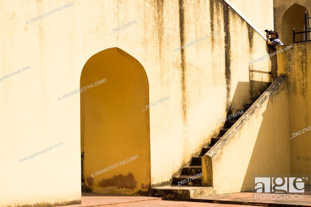 Stock Photo: The Jantar Mantar structures are an equinoctial sundial. Jaipur, Rajasthan. India.