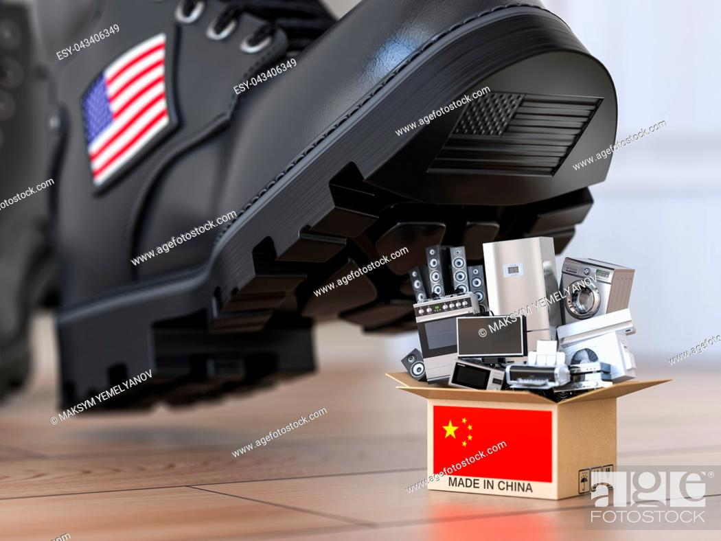 Imagen: USA China technology war and market conflict. Economic trade war concept. Cardbox with appliance made in China and american military boot above it.