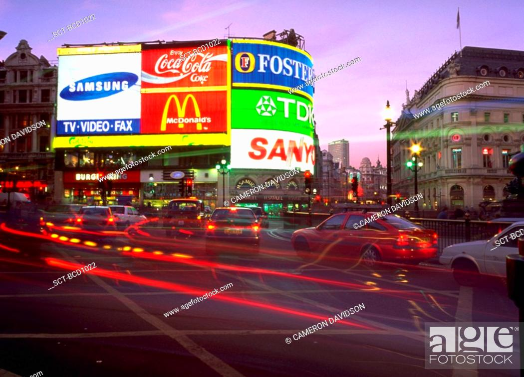 Stock Photo: Lights of cars and neon signs in Picadilly Circus, London, England.