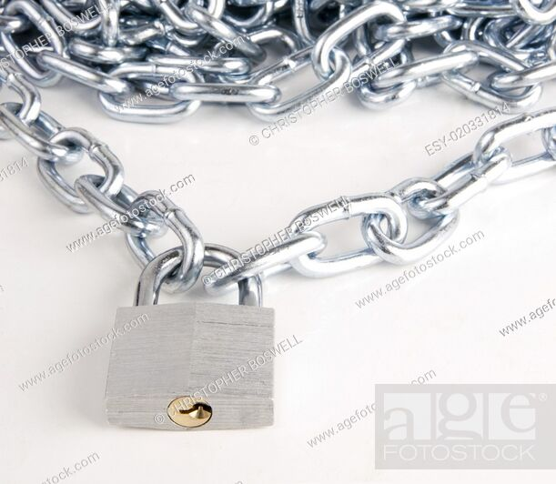 Photo de stock: Link Chain Connected By Keyed Steel Locking Padlock on White.