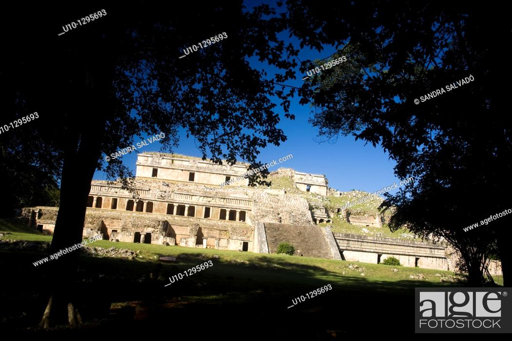 Stock Photo: Archaeological site Sayil, Puuc Route, Yucatan, Mexico.