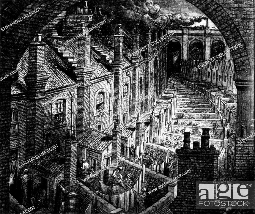 Stock Photo: Slums of London, engraving by Gustave Dore, circa. 1850.