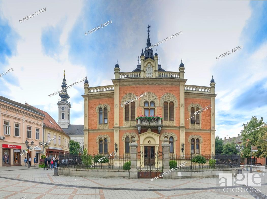 Stock Photo: Novi Sad, Serbia - 07-18-2018. Panoramic View of the Bishop Palace in Novi Sad, Serbia in a cloudy summer day.