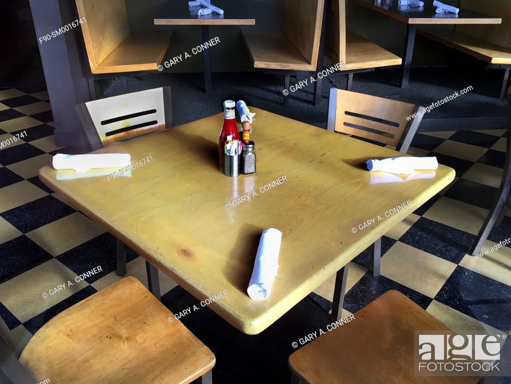 Stock Photo: Restaurant table in Denver, CO.