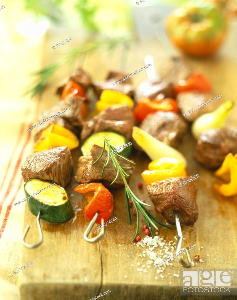 Stock Photo: Beef skewers.