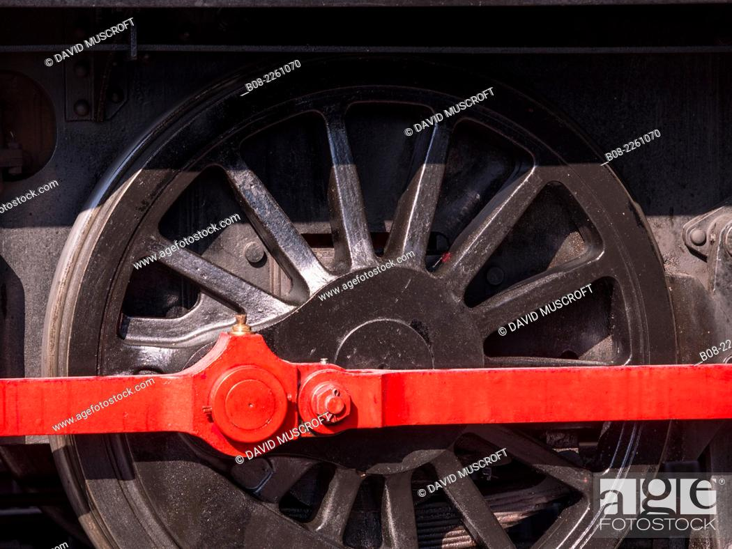 Stock Photo: detail of a steam locomotive at Peak Rail Steam Railway at Matlock, Derbyshire, UK.