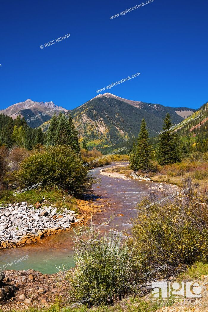 Stock Photo: Fall color along Mineral Creek under Red Mountain Pass, San Juan National Forest, Colorado USA.