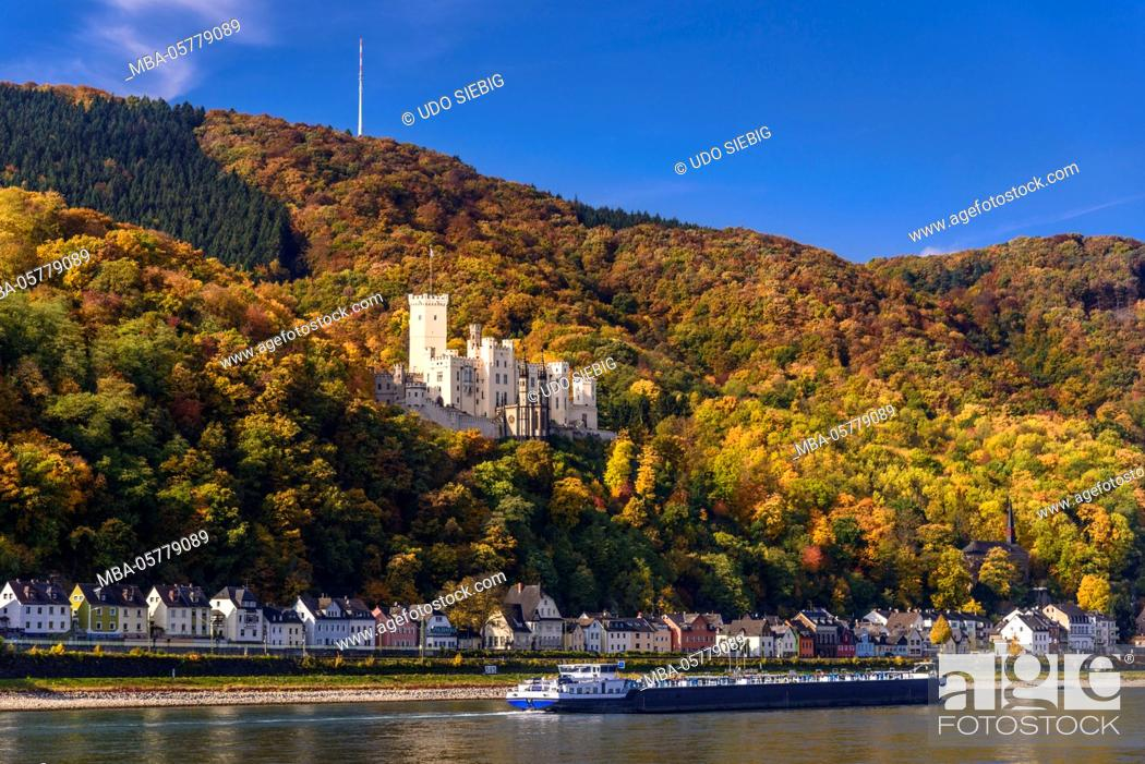 Stock Photo: Germany, Rhineland-Palatinate, upper Middle Rhine Valley, Koblenz, district Stolzenfels, Stolzenfels Castle, view from Lahnstein.