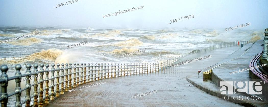 Stock Photo: Winter storms hit Blackpool,England.