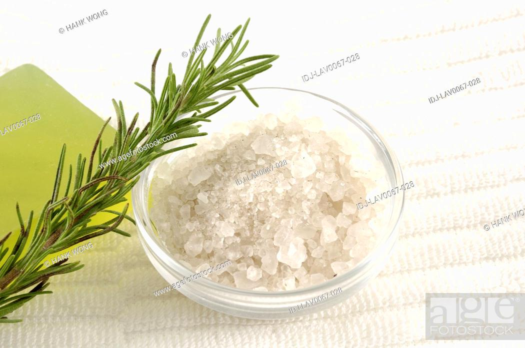Stock Photo: Close-up of Epsom salts with a twig.