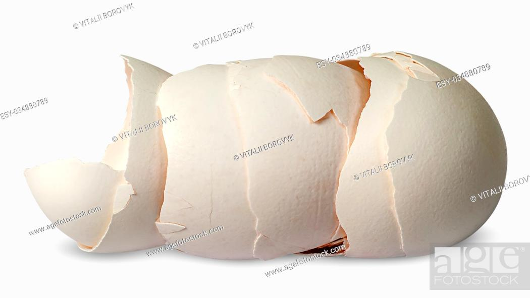 Stock Photo: Stack of halves from crashed eggs horizontally isolated on white background.