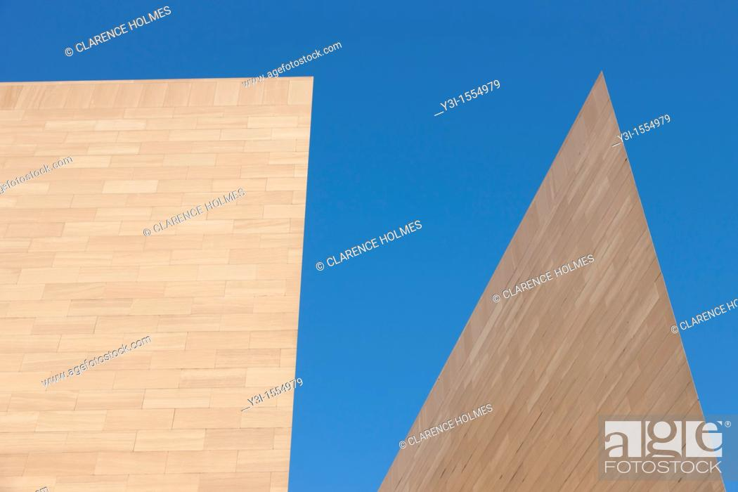 Stock Photo: The angular East Building of the National Gallery of Art in Washington, DC, USA.