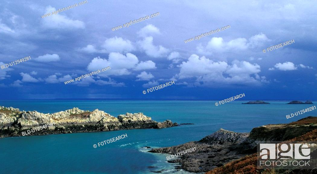 Stock Photo: bretagne, calf, cap, clouds, coast, France, frehel.