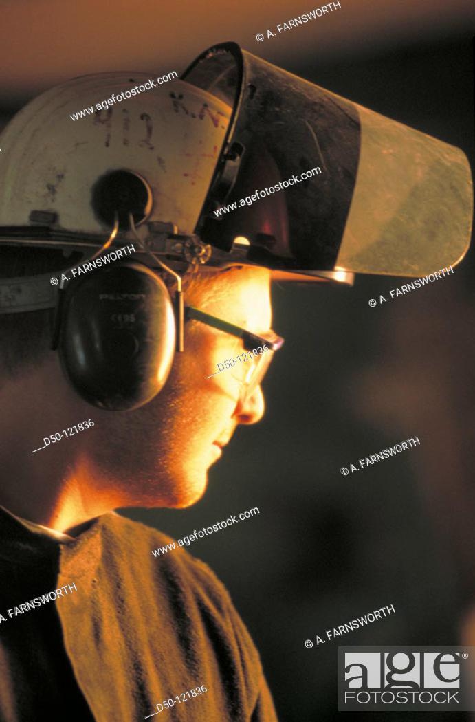 Stock Photo: Steel mill worker.