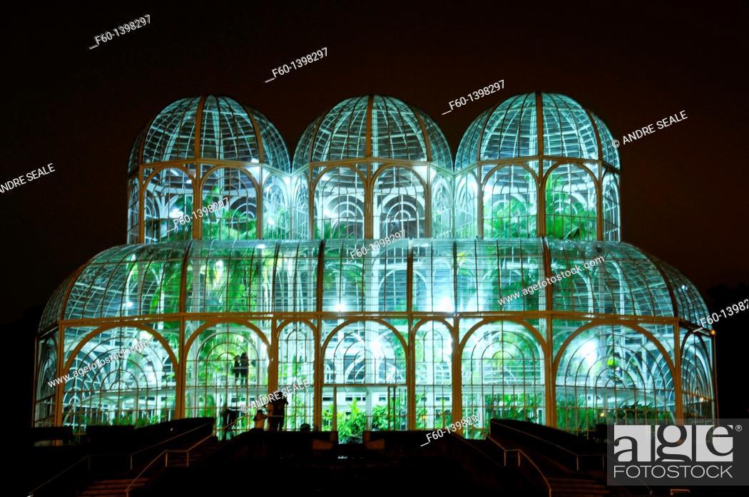 Stock Photo: Greenhouse at the botanical garden of Curitiba (Jardim Botânico Fanchette Rischbieter) at dusk, Paraná, Brazil.