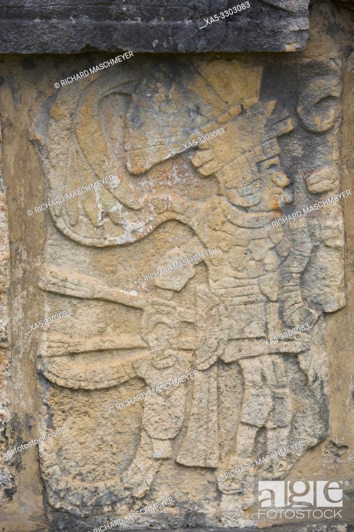 Stock Photo: Sculptures, Platform of Eagles and Jaguars, Chichen Itza, UNESCO World Heritage Site, Yucatan, Mexico.