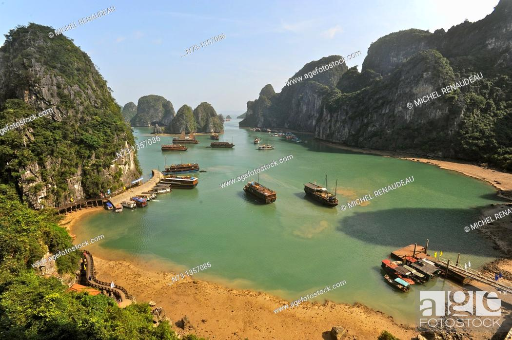 Stock Photo: Vietnam, Halong Bay, listed as World Heritage by UNESCO.