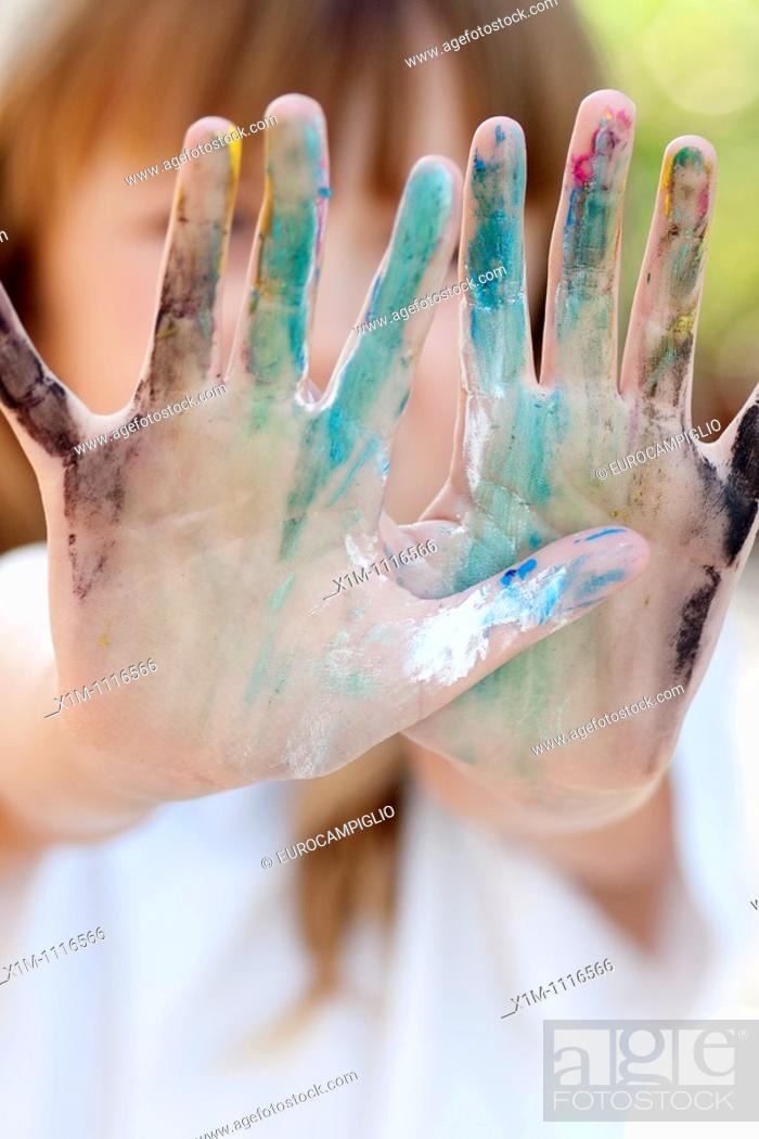 Stock Photo: Girl With Painted Hands.