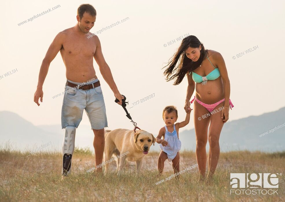 Stock Photo: Handicapped father and family.