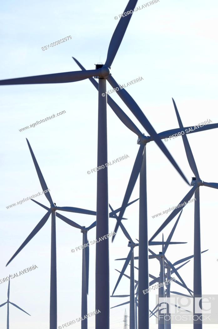 Stock Photo: large group of windmills for renewable electric energy production in Belchite, Saragossa, Aragon, Spain.