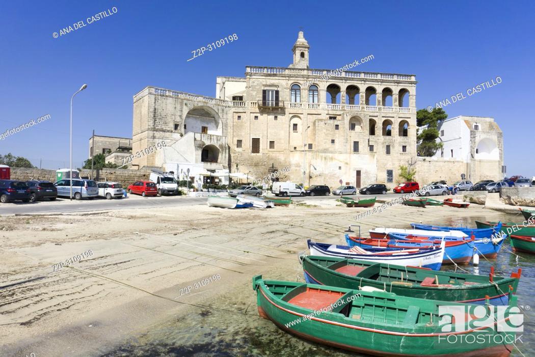 Stock Photo: Benedictine abbey of San Vito Polignano a Mare Puglia, Italy.,.