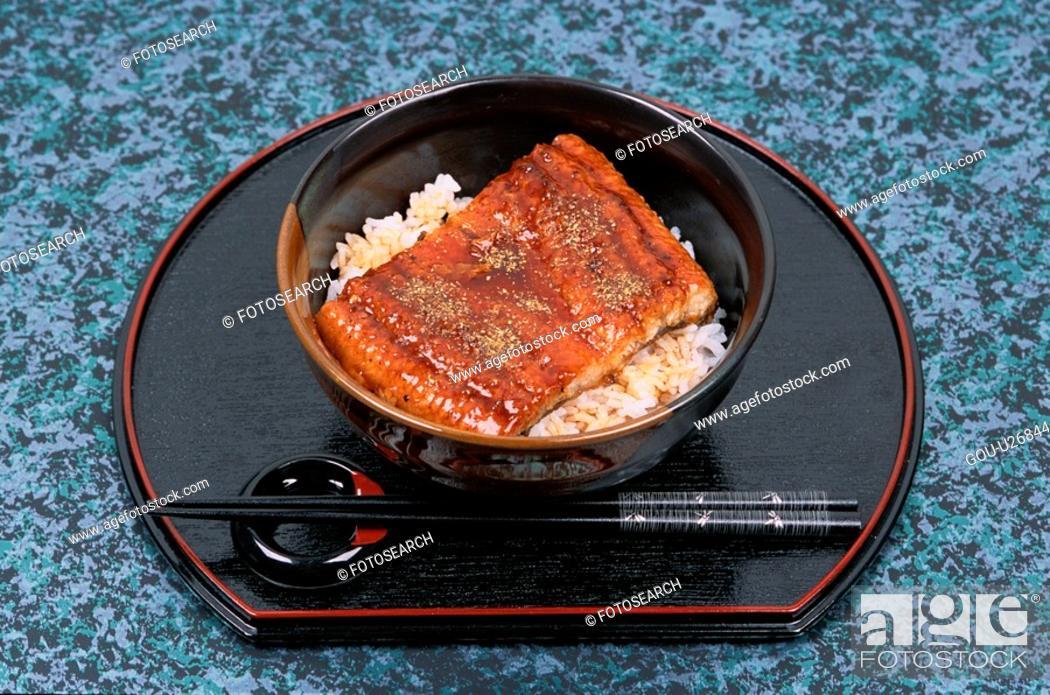 Stock Photo: Japanese Dish With Chopsticks.