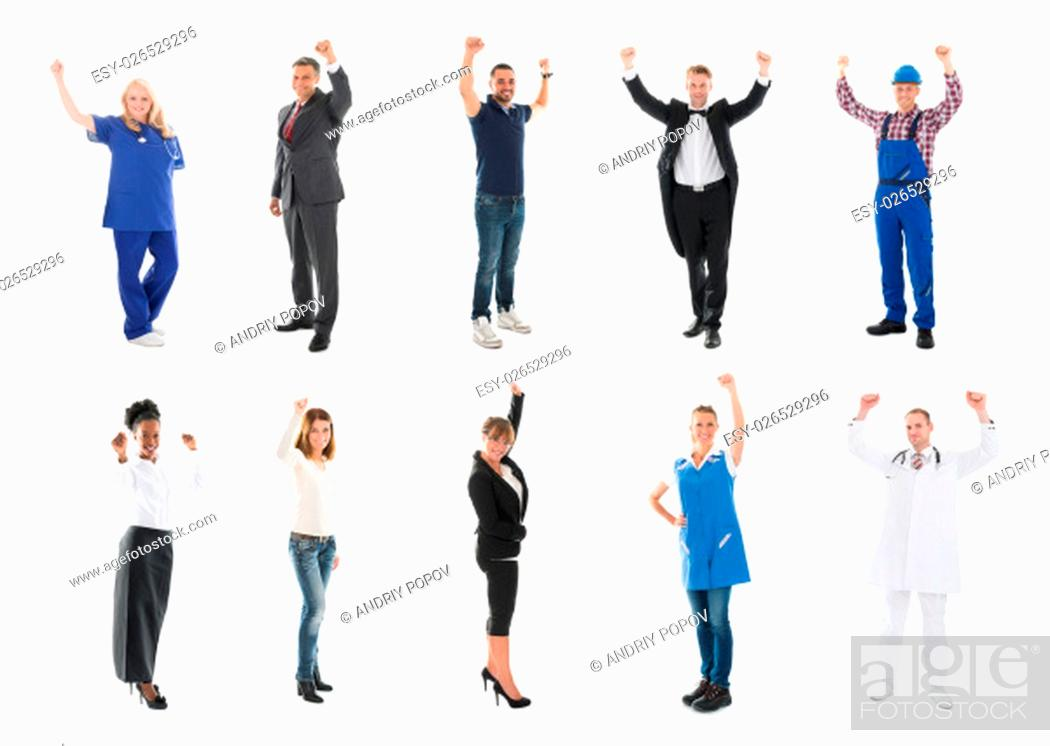 Stock Photo: Full length portrait of happy medical team standing with arms raised against white background.